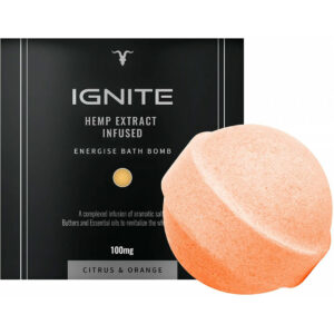 Ignite CBD Bath Bomb 100mg Energize Citroen & Sinaasappel