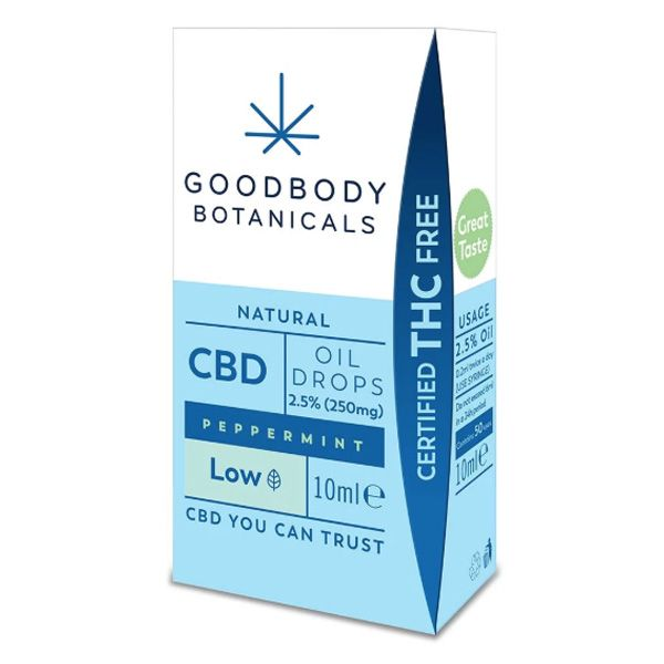 Goodbody Botanicals CBD Olie Druppels Pepermunt Low 250mg 10ml